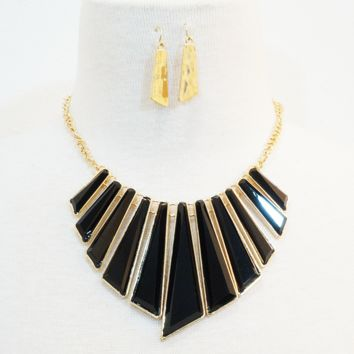 Black/Gold Sun-Ray Necklace & Earrings Set