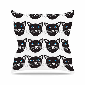 "Vasare Nar ""Grumpy Cat"" Black Animals Outdoor Throw Pillow"