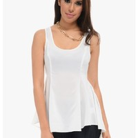 White Sweetie Sleeveless Blouse   $10   Cheap Trendy Blouses Chic Discount Fashion for Women   ModD
