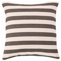 Fresh American Trimaran Stripe Charcoal and Ivory Indoor/Outdoor Pillow