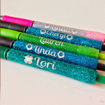 HUNTER GREEN pen with LIME glitter. Pretty Personal Pen. Gel Ink. Monogram. Initials. Glitter Sparkly Sparkles. Teachers, Nurses, Co-worker