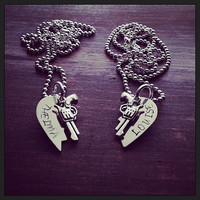 Silver Broken Hearts Stamped Thelma and Louise Attached to Silver Chains