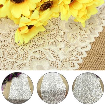 30cm*180cm Vintage Burlap Lace Table Cloth Cover Wedding Decoration DIY Sewing Craft Materials