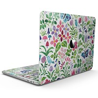 Butterflies and Flowers Watercolor Pattern - MacBook Pro with Touch Bar Skin Kit