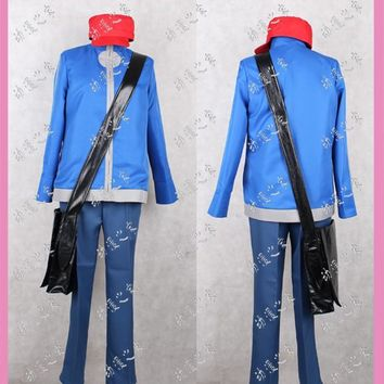 XY Pocket Monsters Calem Cosplay Costume with bag and hatKawaii Pokemon go  AT_89_9