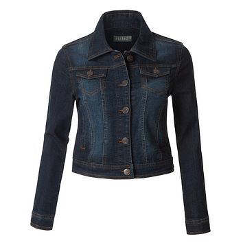 LE3NO Womens Classic Washed Long Sleeve Distressed Denim Jacket