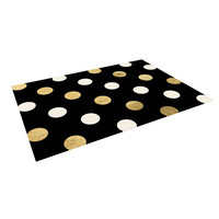 "KESS Original ""Golden Dots"" Black Gold Indoor / Outdoor Floor Mat"