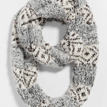 ethnic knit infinity scarf with metallic stitching | maurices