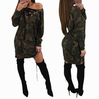 BALIWEISA Casual Long Sleeve Knee Length Dress Women Sexy V Neck Cutout Cross Bandage Camo Loose Dress Army Green Military Dress