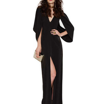 Black Long Sleeve Cut-Out Maxi Dress