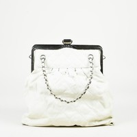 "Chanel Cream Leather Quilted Chain Strap ""Chic"" Frame Bag"