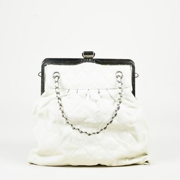 """Chanel Cream Leather Quilted Chain Strap """"Chic"""" Frame Bag"""