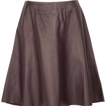 Aubergine Flare Leather Skirt