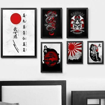 Abstract Japanese Bushido Sakura Samurai Ukiyoe Wall Art Paint Wall Decor Canvas Prints Canvas Art Poster Oil Paintings No Frame