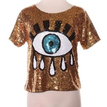 Tiffania Disco Sequin Top