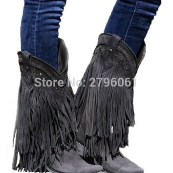 Cowboy Mid-calf Motorcycle Boots Gladiator Autumn Winter Fringed Leather Low Heels Short Boots Slip-on Tassel Woman Casual Shoes