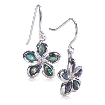Sterling Silver Plumeria Abalone Inlay Hook Earring