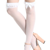 ROMWE | Lace Bowknot White Stockings, The Latest Street Fashion