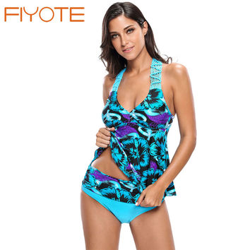 FIYOTE Brand Sexy Biquinis Women Vintage Bluish Floral Print Macrame Tankini and Short Swimsuit LC410025 Swimming Suit For Beach