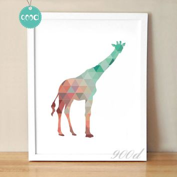 Colourful Geometric Giraffe Canvas Art Print Poster, Wall Pictures for Home Decoration, Wall Art Decor FA237-11