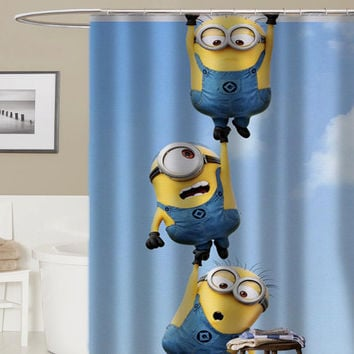 cartoon minions custom shower curtain, curtains