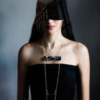 Geometric Wooden chain necklace, black faceted minimalist necklace, wood and chains jewelry, urban style