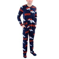 Mens Denver Broncos Orange Ramble One-Piece ''Mansie'' Footie Pajama Suit