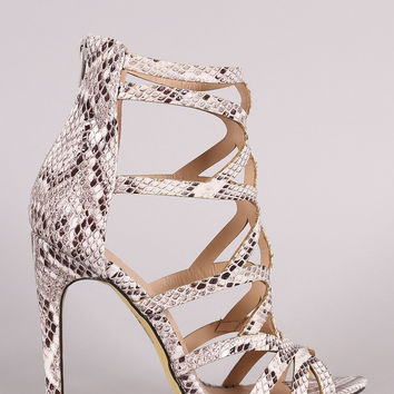 Python Strappy Caged Stiletto Heel