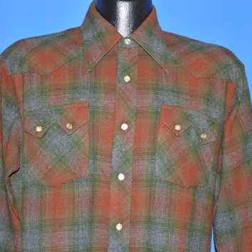 70s Western Plaid Wool Pearl Snap shirt Extra Large