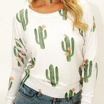 White Cactus Pattern Round Neck Top