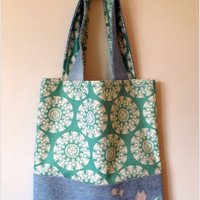 Upcycled Cat and Fish Denim Tote Bag