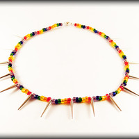 Punk Pride - Rainbow seed bead spike necklace .. Gay Pride necklace with rainbow seed beads, acrylic silver spikes and a magnetic clasp.