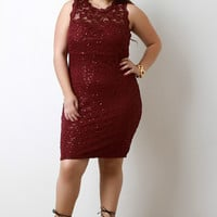 Sleeveless Sequin Lace Bodycon Dress