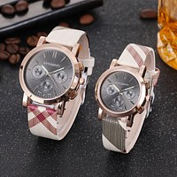 8DESS Burberry Lover Couple Fashion Quartz Movement Wristwatch Watch