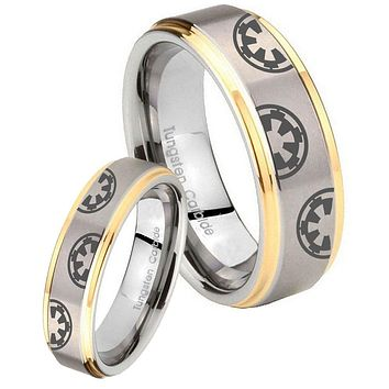 His Hers Step Edge Star Wars & Galactic Empire 14K Gold 2 Tone Tungsten Wedding Rings Set