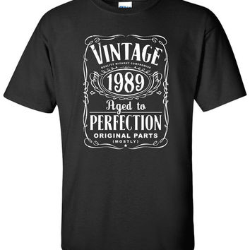 25th Birthday Gift For Men and Women - Vintage 1989 Aged To Perfection Mostly Original Parts T-shirt Gift idea. More colors available S-22