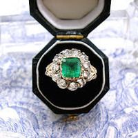 Antique Emerald Ring with Rose Cut Diamonds Victorian Circa 1880