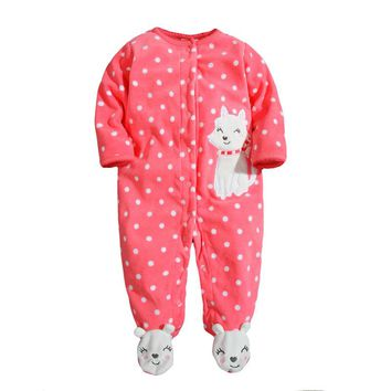 New 2018 Autumn spring Baby Rompers clothes long sleeved Newborn Boy Girls Polar Fleece Baby Jumpsuit baby Clothing 9-24M