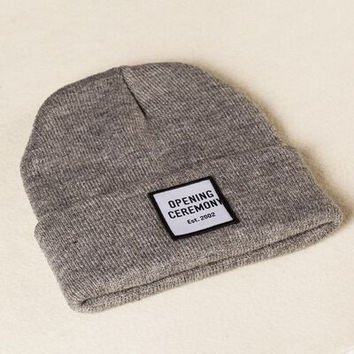 Opening Ceremony Patch Beanie Knitted Ski Cap Autumn Winter Warm Fashion Gray Cuffed Skully Hat