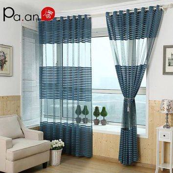 Blue Polyester Curtains Tulle Striped Burnout Curtain Living Room Translucidus Window Curtain for Balcony Home Decoration