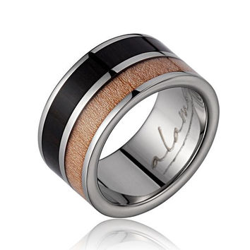 GENUINE MACASSAR EBONY & MAPLE WOOD WEDDING BAND RING TITANIUM SCROLL 10MM SIZE 6-14
