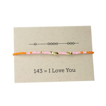 I Love You 143 Friendship Bracelet - Pink/Orange