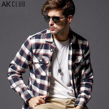 Shirt New Thickening Plaid Shirt Cotton Shirts For Men Flannel Twill Classic Men Shirt Casual