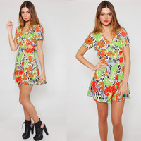 Vintage 70s Mod Mini Dress JUNGLE CATS Tropical Print Short Sleeve Baby Doll Dress