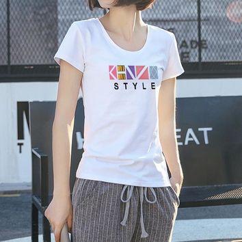 Women Simple Casual Multicolor Letter Print Short Sleeve Round Neck Bodycon T-shirt Top Tee