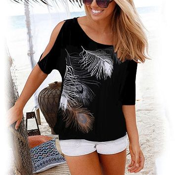 Women Summer 2018 Tshirt Casual Short Sleeve Tops Tees Sexy Off Shoulder Feather Print T-Shirt O-neck Loose Plus Size 5XL Shirts