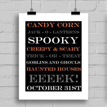 Halloween Word Art Print - Digital Download (JPG/PDF) 8x10