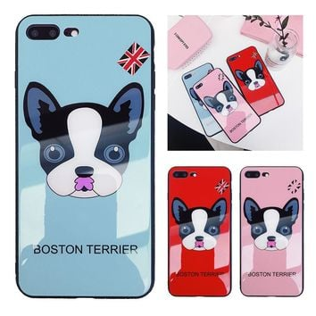 Boston Terrier Dog Shell Soft / Frame Back Cover Tempered Glass 6/6S/7/8/X