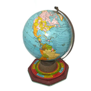 Vintage J. Chein Tin Globe -  Metal Toy, Tin Toy, Student Geography, 1950s Mid Century, Educational Toy, Desk Globe