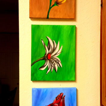 3 Flowers Original Acrylic Painting FREE SHIPPING Country Style - 8X10 inches 3 set Canvas Wall Decor in red white green blue yellow brown